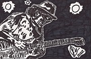 Music Legend Drawings Posters - Carlos Santana Poster by Jeremiah Colley