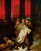 Winter Night Painting Metal Prints - Carol Singers Metal Print by Augustus Edward Mulready