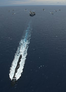 Cruiser Posters - Carrier Strike Group Formation Of Ships Poster by Stocktrek Images