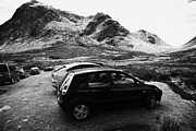 Etive Mor Framed Prints - Cars Parked By Walkers On Rough Path At Glen Etive Glencoe Highlands Scotland Uk Framed Print by Joe Fox