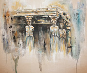 Greek Sculpture Painting Prints - Caryatids Print by Erika Proctor