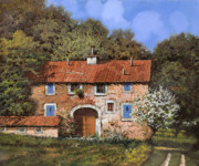 Wood Painting Prints - Casolare A Primavera Print by Guido Borelli
