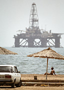 Sea Platform Photo Framed Prints - Caspian Sea Oil Rig Framed Print by Ria Novosti