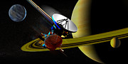 Planets Art - Cassini Spacecraft by Christian Darkin