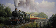 Railway Paintings - Castle on Broadsands viaduct by Mike  Jeffries