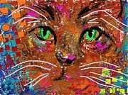 Canvas Cat Prints Prints - Cat Print by Bogdan Floridana Oana