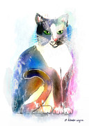 Feline Mixed Media Metal Prints - Cat Of Many Colors Metal Print by Arline Wagner