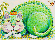 Vegetarian Drawings Framed Prints - Catasaurus Rex Framed Print by Dee Davis