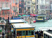 Crowds  Digital Art Prints - Catching the Ferry in Venice Print by Mindy Newman