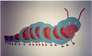Wood Wall Hangings Mixed Media - Caterpillar by Val Oconnor