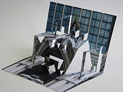 Paper Sculpture Posters - Cathedreal Reconstruction Poster by Alfred Ng