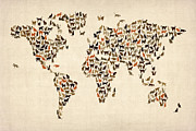 Old Prints - Cats Map of the World Map Print by Michael Tompsett