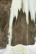 Athlete Prints - Caucasian Male Ice Climbing In Wyoming Print by Bobby Model