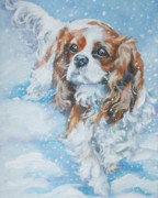 Spaniel Puppy Paintings - Cavalier King Charles Spaniel blenheim in snow by Lee Ann Shepard