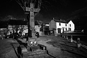 Derbyshire Cross Prints - Celtic Cross War Memorial In Market Place In The Peak District Village Of Castleton Derbyshire  Print by Joe Fox