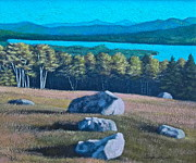 Center Hill Overlooking Webb Lake Print by George Ramos