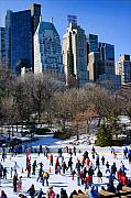 Skaters Prints - Central Park Skaters Print by June Marie Sobrito
