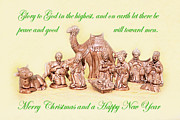 Nativity Prints - Ceramic Nativity Scene Print by Linda Phelps
