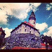 Czech Republic Art - Cesky Krumlov Castle Tower View by Kate Pru