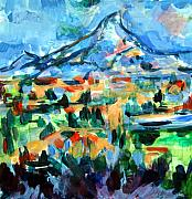 Village Pastels Prints - Cezanne Mountain Print by Mindy Newman