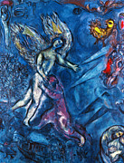 Judaism Prints - Chagall - Jacob Wrestling Print by Granger