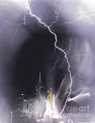 Lightning Strike Posters - Challenger Struck By Lightning Poster by Nasa