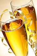 Wine-glass Posters - Champagne glasses Poster by Elena Elisseeva