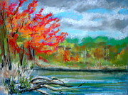 Trees Pastels Originals - Channings Lake by Pete Maier