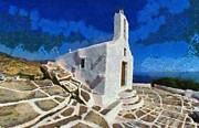 Blue Sky Art - Chapel in Ios island by George Atsametakis