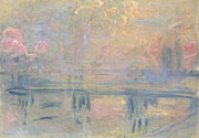 Fog Mist Posters - Charing Cross Bridge Poster by Claude Monet