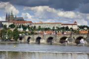 Vltava River Boat Prints - Charles Bridge and Prague Castle Print by Andre Goncalves