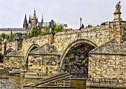 Prague Castle Framed Prints - Charles Bridge and Prague Castle Framed Print by Jon Berghoff