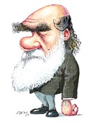 Caricature Portraits Posters - Charles Darwin, Caricature Poster by Gary Brown