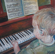 Toddler Portrait Paintings - Charles Recital by Julie Dalton Gourgues