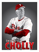 Phillies Digital Art Prints - Charlie Manuel Print by Scott Weigner