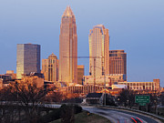 Charlotte Skyline At Sunrise Print by Jeremy Woodhouse