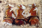 Amate Bark Paper Prints - Charros Print by Juan Jose Espinoza