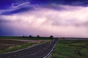 Lightning Bolt Pictures Prints - Chasing The Storm - County Rd 95 and Highway 52 - Colorado Print by James Bo Insogna