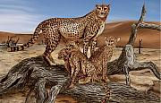 Wildlife Drawings Drawings Framed Prints - Cheetah Family Tree Framed Print by Peter Piatt
