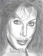 Business Cards Drawings - Cher by Rick Hill