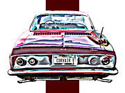 Samuel Sheats Posters - Chevy Corvair Rear Study Poster by Samuel Sheats