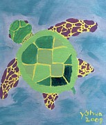Green Sea Turtle Painting Metal Prints - Chiaras Turtle Metal Print by Yshua The Painter