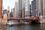 Lasalle Street Bridge Prints - Chicago Downtown at LaSalle Street Bridge Print by Paul Velgos