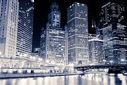 Chicago Black White Posters - Chicago Downtown at Night Poster by Paul Velgos