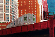 Skyline Paintings - Chicago El Train by Char Swift