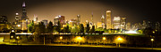 Lake Shore Drive Posters - Chicago Panorama at Night Poster by Paul Velgos