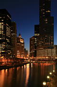 Trump Tower Prints - Chicago River Reflections Print by Timothy Johnson
