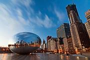 Cities Tapestries Textiles Originals - Chicago Skyline and bean at sunrise by Sven Brogren