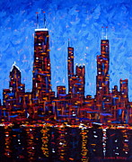 Skylines Painting Originals - Chicago Skyline at Night from North Avenue Pier - vertical by J Loren Reedy