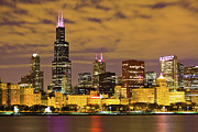 Illinois Art - Chicago Skyline at Night by Paul Velgos